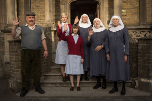 Programme Name: Call the Midwife - TX: n/a - Episode: n/a (No. 4) - Picture Shows: Fred (Cliff Parisi), Trixie (Helen George), Cynthia Miller (Bryony Hannah), Sister Julienne (JENNY AGUTTER), Sister Evangelina (PAM FERRIS), Sister Monica Joan (JUDY PARFITT) - (C) Neal Street Productions - Photographer: Neal Street Productions